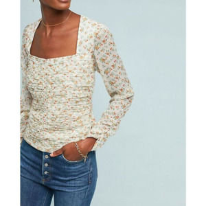 Anthro Ranna Gill Mylene Floral Ruched Blouse